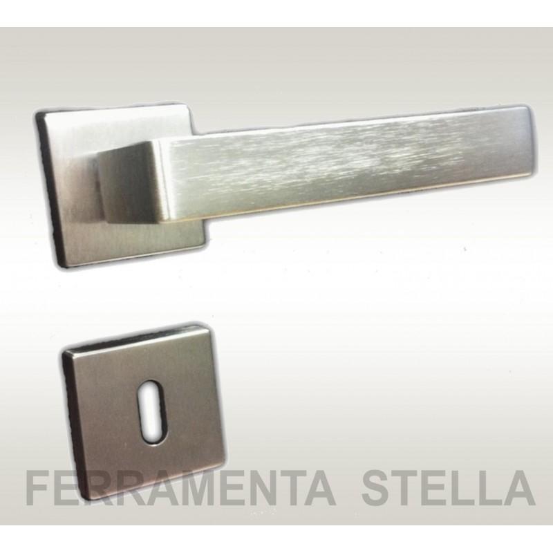 Coppia maniglie maniglia rosetta squadrata cromo satinato - Maniglie porte interne cromo satinato ...