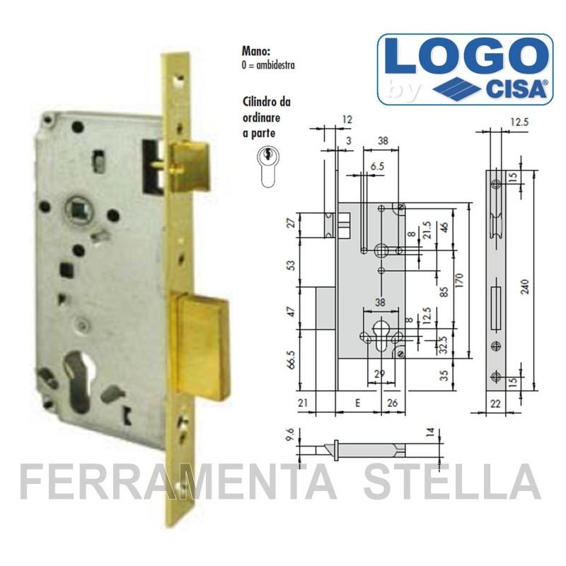 Serratura infilare incastro cisa logo 5c611 x legno - Cambiare serratura porta ingresso ...