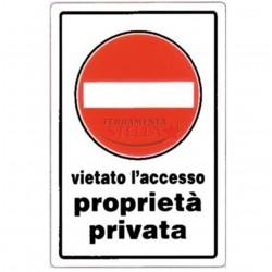 CARTELLO TARGHETTA PLASTICA 30 X 20 CM DIVIETO DI ACCESSO PLASTICA PASSO PROPRIETA' PRIVATA