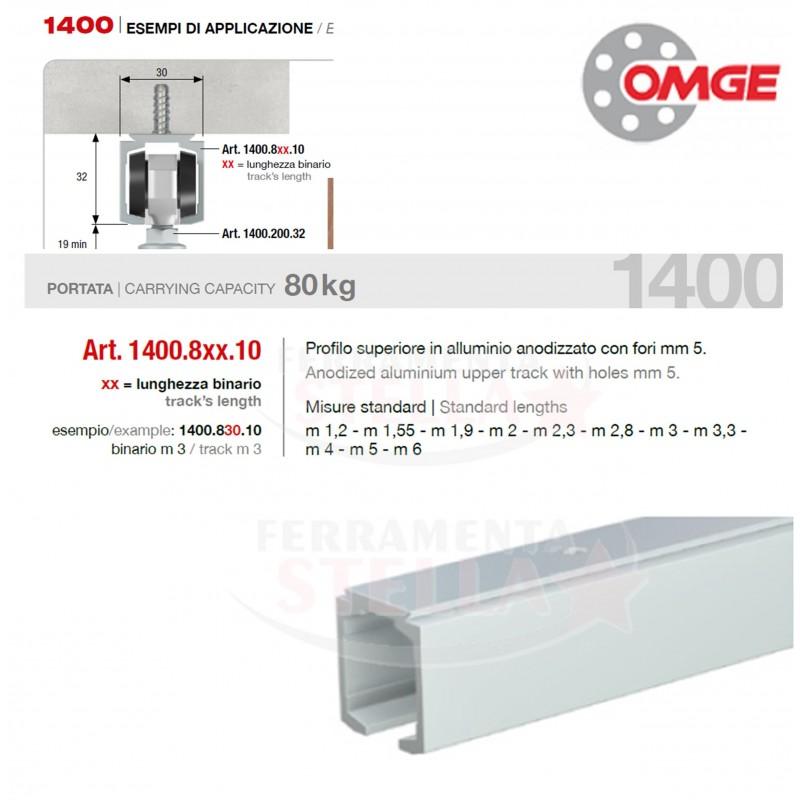 Binario portante in alluminio per kit 1400 omge x porte - Binari x porte scorrevoli ...