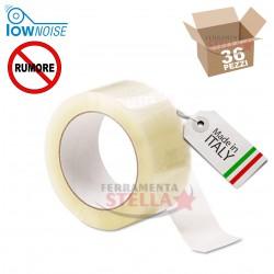 NASTRO ADESIVO 50 X 66 MT  COLORE TRASPARENTE SVOLGIMENTO SILENZIOSO CONFEZIONE 6 PZ - MADE IN ITALY LOW NOISE