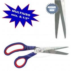 FORBICI MULTIUSO ACCIAIO INOX  MIS. 7 1/2'  MANICO ROSSO E BLU