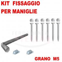 KIT FISSAGGIO MANIGLIA MANIGLIE PORTA 2 GRANI + CHIAVINO PER FISSANO GRANO + 4 VITI