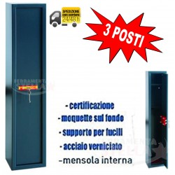 PORTA FUCILI CASSAFOERTE FUCILIERA 3 POSTI - MM 245 X 205 X 1350 - CERTIFICATA