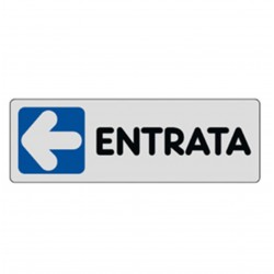ETICHETTA CARTELLO TARGHETTA ADESIVA ADESIVO - ENTRATA FRECCIA SINISTRA - 15 X 5 CM