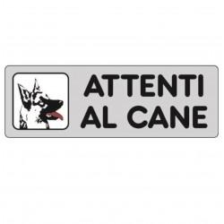 ETICHETTA CARTELLO ADESIVA ATTENTI AL CANE 15 X 5 CM PASTORE TEDESCO