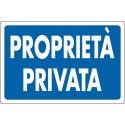 CARTELLO TARGHETTA PLASTICA 30 X 20 CM PROPRIETA' PRIVATA - COLORE BLU