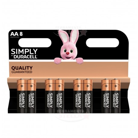 PILE BATTERIE STILO DURACELL SIMPLY  8 pz TIPO AA