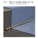 PROFILO TUBOLARE IN OTTONE LUCIDO FERMA MOQUETTE PER SCALA GRADINO - CM 100 DIAM .11 MM