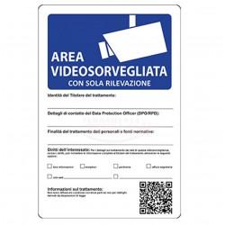 CARTELLO TARGA PLASTICA 30 x 20 CM AREA SOTTOPOSTA A VIDEOSORVEGLIANZA TELECAMERA - NUOVO CON NORMATIVA