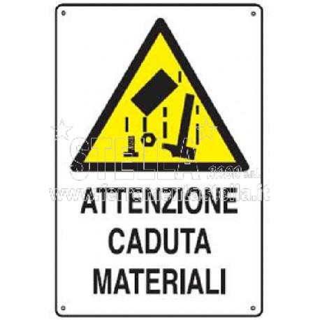 CARTELLO POLIONDA 68 x 48 CM ATTENZIONE CADUTA MATERIALI DALL/'ALTO CANTIERE