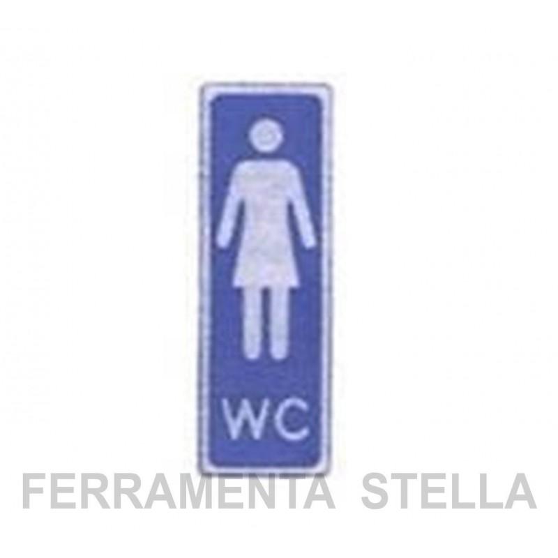 ETICHETTA CARTELLO TARGHETTA ADESIVA TOILETTE SIMBOLO DONNA WC ...