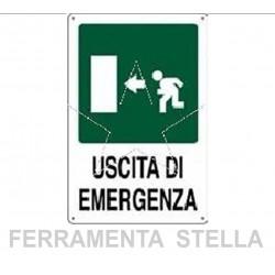 CARTELLO TARGHETTA ETICHETTA PLASTICA 30 X 20 CM USCITA DI EMERGENZA SINISTRA