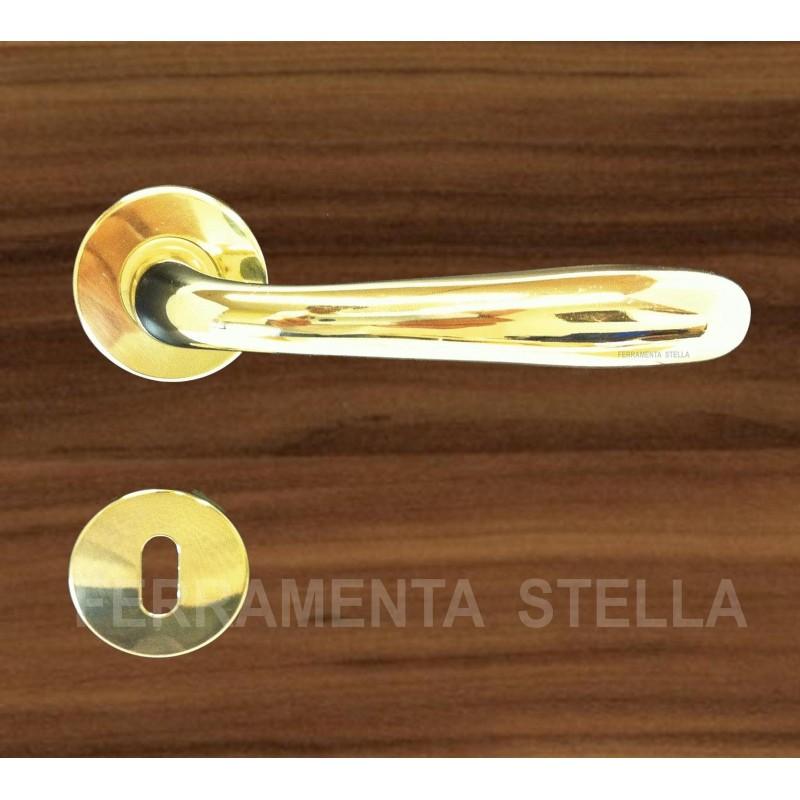 Coppia Maniglie Maniglia Con Rosetta Oro Lucido Porta Porte D