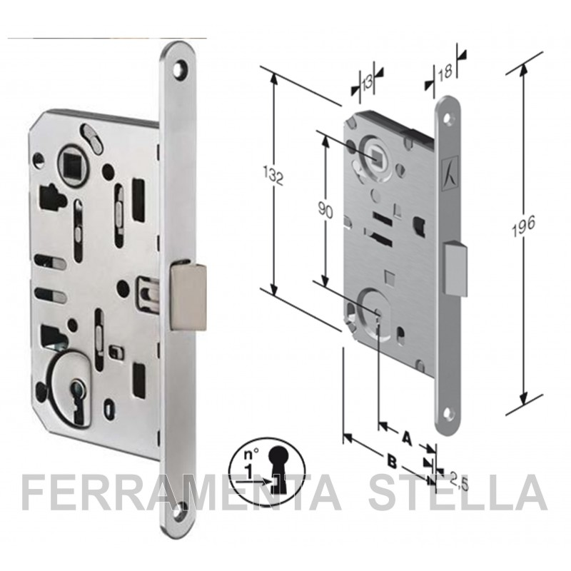 Serratura patent per porte interne bussole tipo centro agb dist 90 - Serrature per porte interne prezzi ...