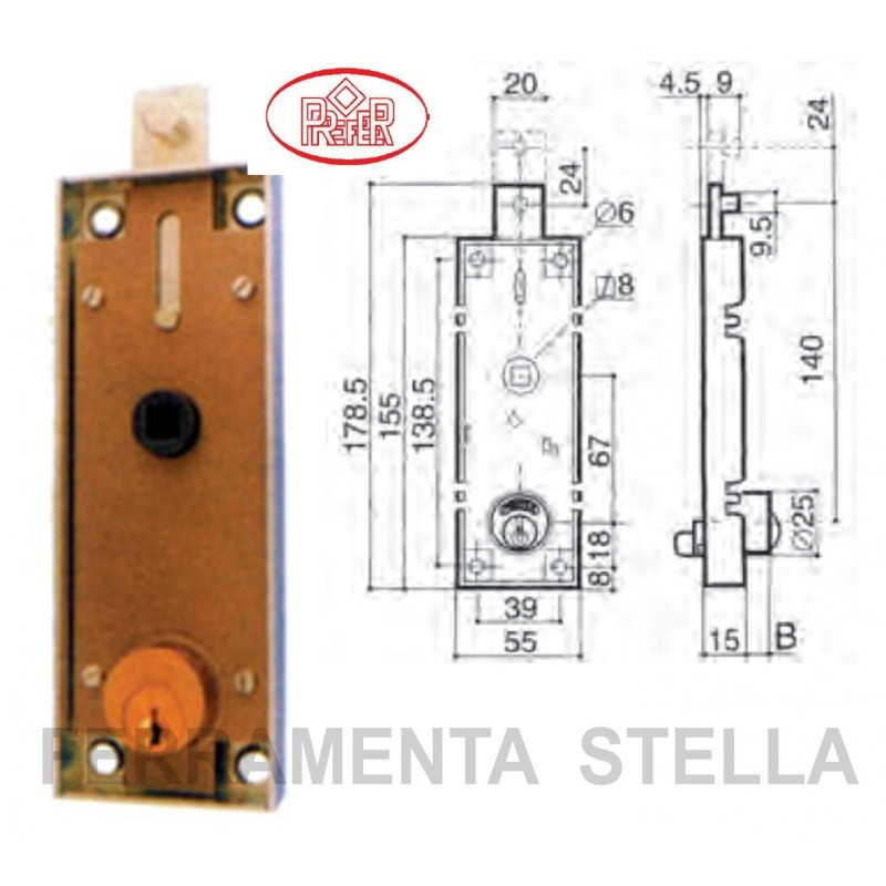 Serratura prefer b551 per porta basculante garage box auto - Serratura porta basculante garage ...