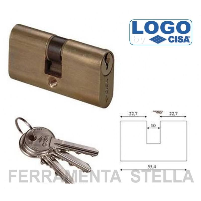 Cilindro cisa da infilare ovale 55mm porta serratura porte for Estrarre chiave rotta da cilindro