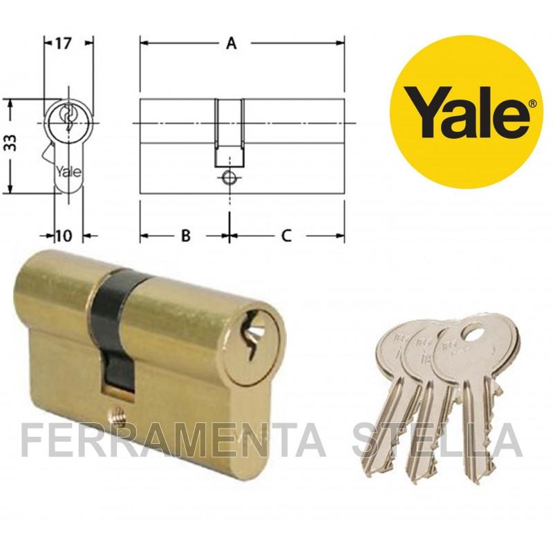 Cilindro sagomato yale ottone per serratura a infilare for Estrarre chiave rotta da cilindro