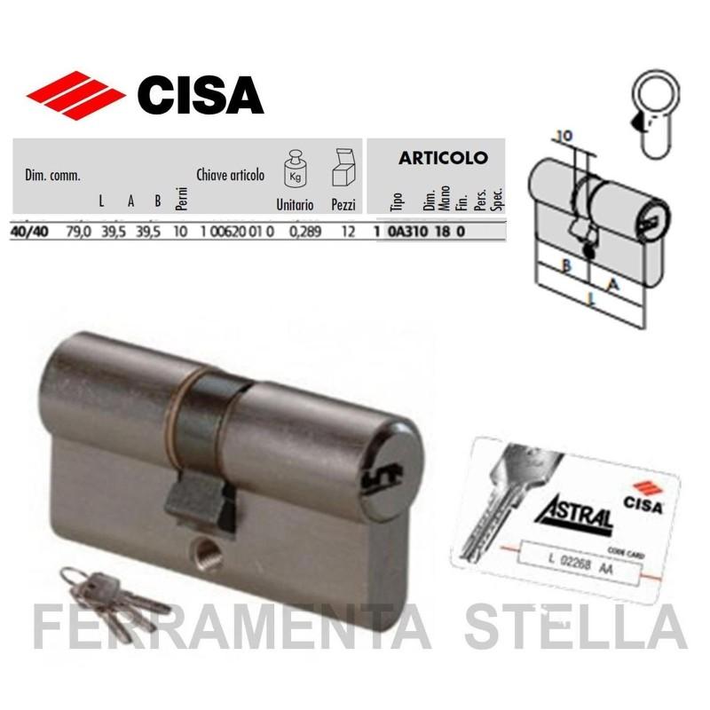 Cilindro Cisa Art 0a310 Astral Profilo Europeo 109mm Con