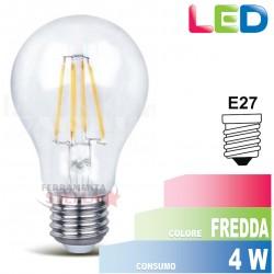 LAMPADA LAMPADINA LED a FILAMENTO - SERIE GOCCIA - FREDDA - 4 W - ATTACCO E 27 - RISPARMIO ENERGETICO
