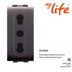 PRESA LIFE BIPASSO BIVALENTE 10/16 A FRUTTO X BTICINO LIVING 4045 GRIGIO SCURO - 4045 ECL