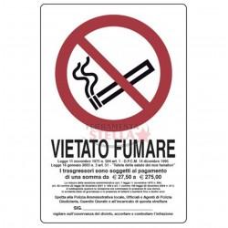 CARTELLO ETICHETTA PLASTICA 30 X 20CM VIETATO FUMARE DIVIETO DI FUMO CON LEGGE