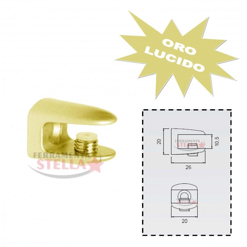 Reggimensola Per Mensole Vetro.Reggimensola Reggi Mensola Vetro Supporto A Morsetto Oro Lucido X Vetro