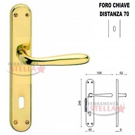 Coppia maniglie maniglia con placca lunga oro lucido porte - Maniglie per porte interne classiche ...